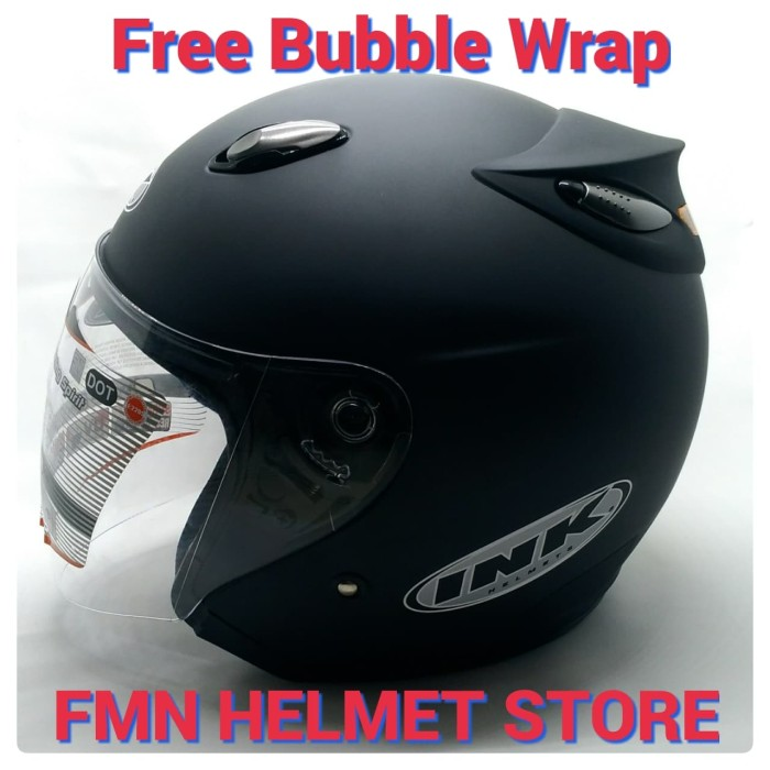 Helm ink centro jet solid original black matt hitam doff