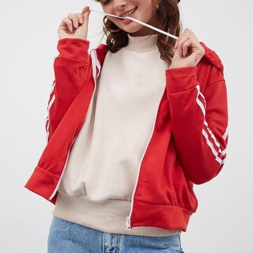 harga Pakaian cewek baju outer jaket hoodie wanita tangan garis putih clo835 Tokopedia.com