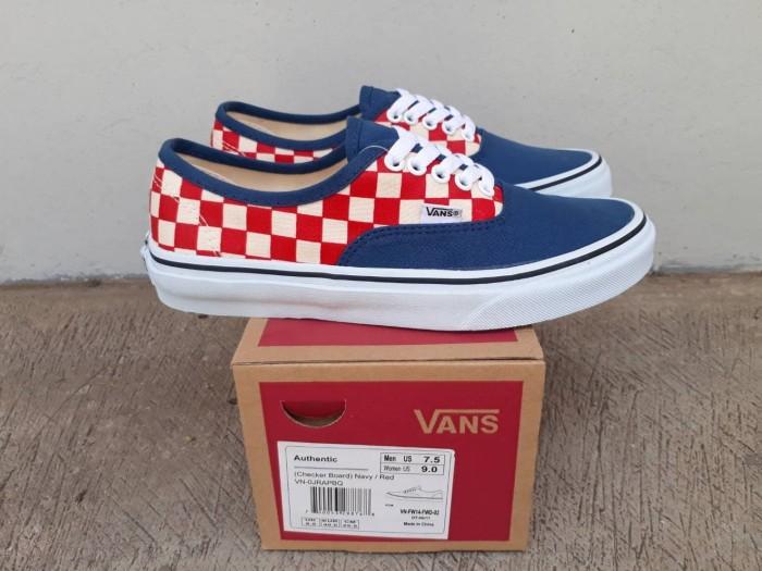 Jual Sepatu Sneaker Vans Authentic Checkerboard Blue Red BNIB Import - Kota  Bandung - Genji Footwear | Tokopedia