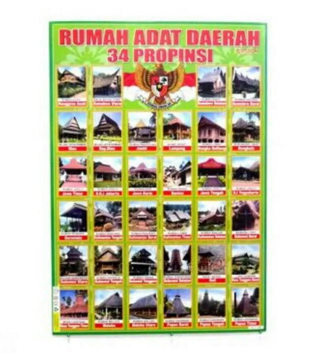 Jual Poster Rumah Adat Daerah 34 Provinsi Kota Bekasi Kudaponi Tokopedia