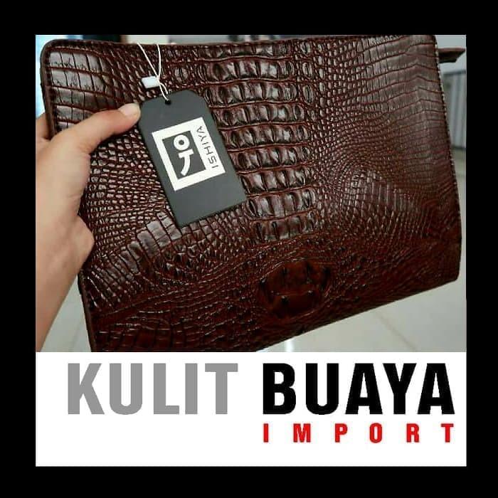 harga Clutch handbag hand bag tas pria kulit hitam - buaya Tokopedia.com