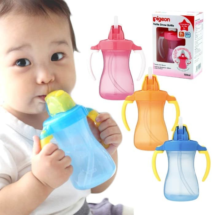 harga Pigeon Petite Straw Bottle / Training Cup / Botol Minum Bayi Anak Blanja.com