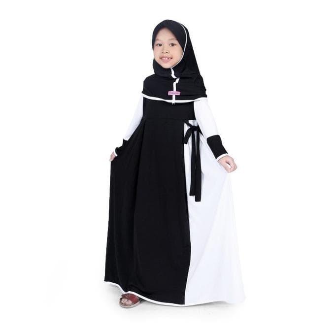 Jual Murah! Bajuyuli - Baju Muslim Anak Perempuan Gamis Jersey Hitam ... b54635887d