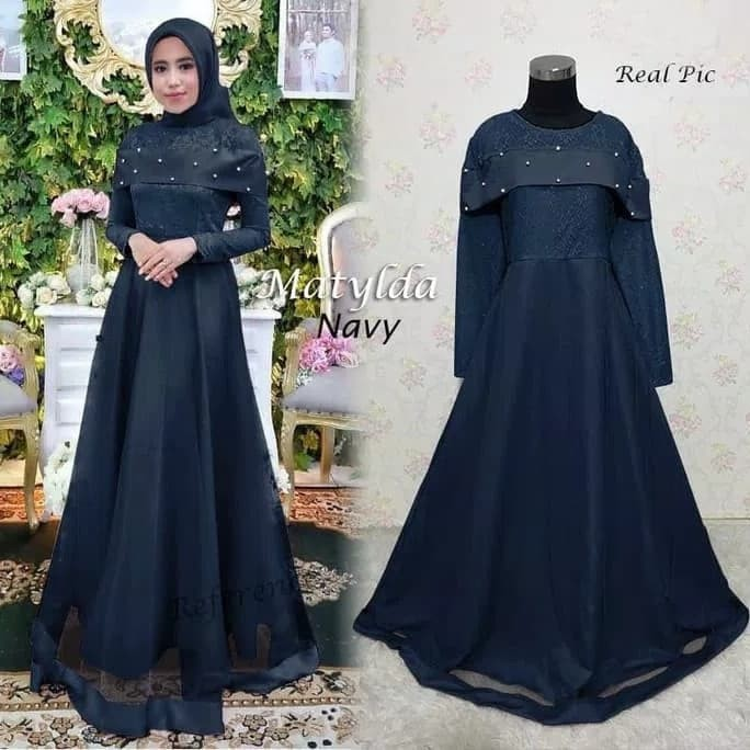 Jual Gamis Maxy Dress Pesta Party Hijab Mutiara Matylda Brukat