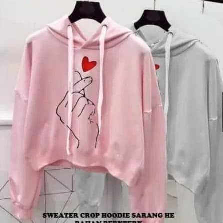 Styliee.shop - Sweater Wanita Crop SARANGHAE with Hoodie