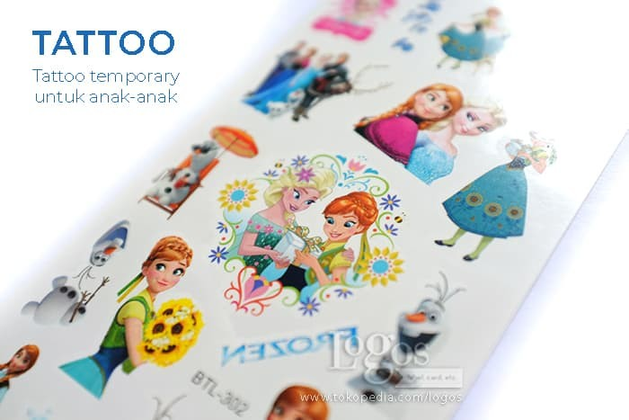 Foto Produk Tato anak Frozen Tatoo Stiker Tattoo Temporary non permanent Elsa Anna dari Logos