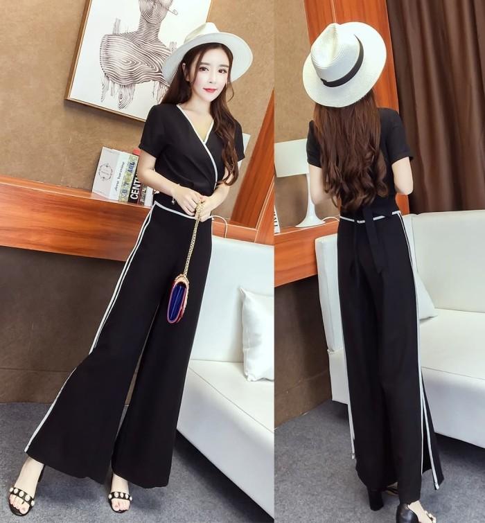 baju setelan with pant elegant fashion black cream new impor