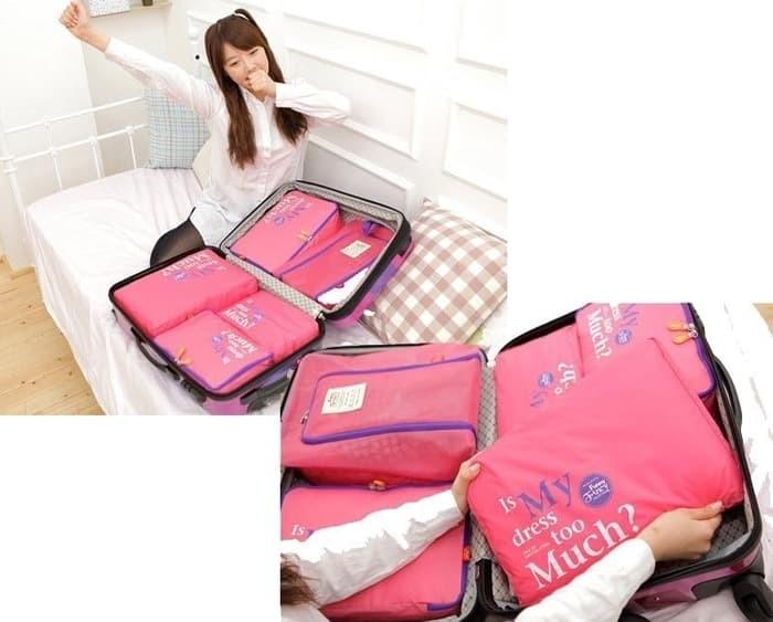 2nd gen 5 in 1 bags in bag travelling (dpt 5 bag) travel organizer tas - Merah