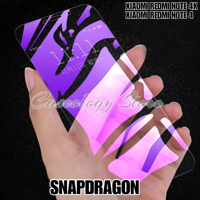 Foto Produk SNAPDRAGON TEMPERED GLASS BLUE RAY XIAOMI REDMI NOTE 4X REDMI NOTE 4 - Ungu dari Caseology Store