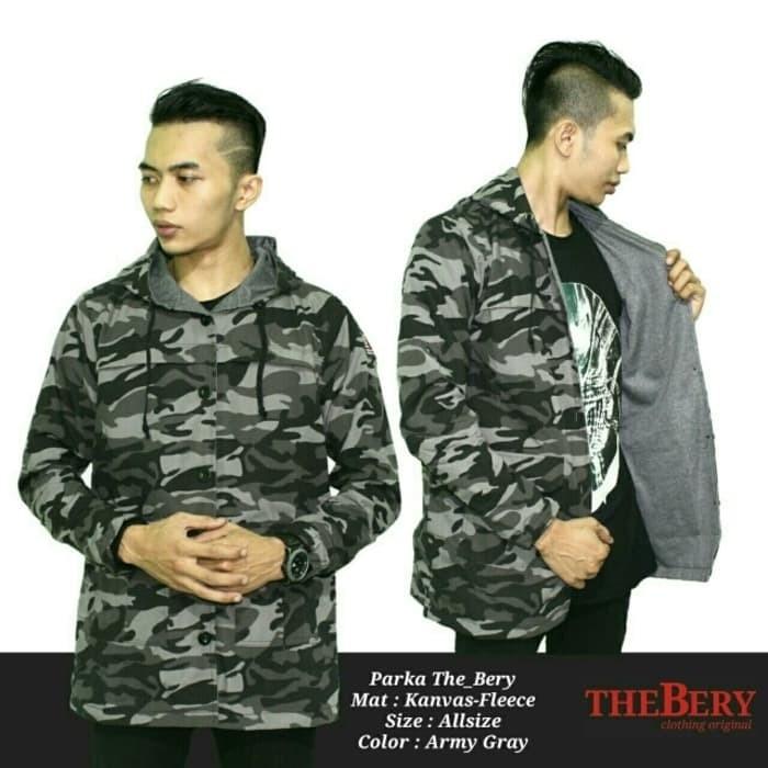 Jaket Parka Pria Loreng Army Grey Premium/ Jacket Hoodie Distro Casual