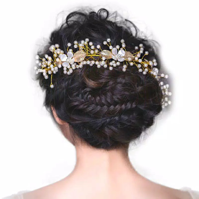 Foto Produk Head piece / hair pin golden branch bubga mutiara dari Sarkara Shop