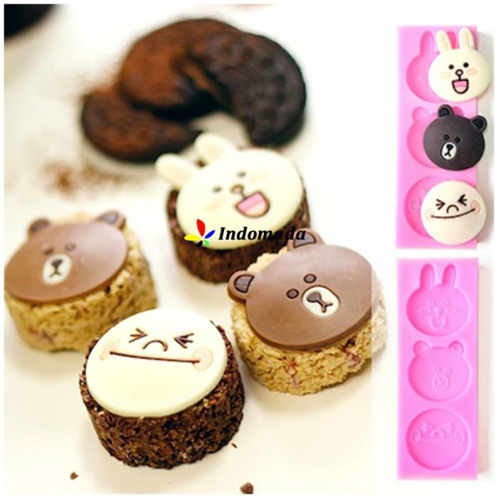 harga Cetakan silikon coklat fondant topper karakter emoticon line friends Tokopedia.com