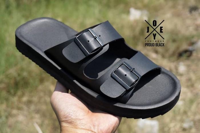 sandal / sendal fashion pria handmade model brikenstock / birkenstock - Hitam, 42