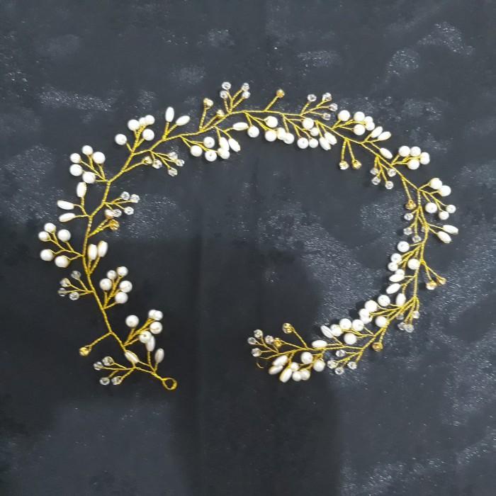 Foto Produk Head hair piece bunga mutiara 50 cm - Emas dari Sarkara Shop