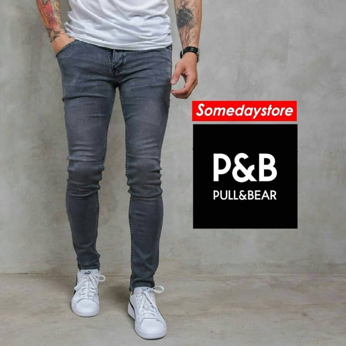 Foto Produk Celana Super Skinny Gray Washed Stretch Jeans Celana Panjang Pria - Abu-abu Muda, 29 dari Someday Store