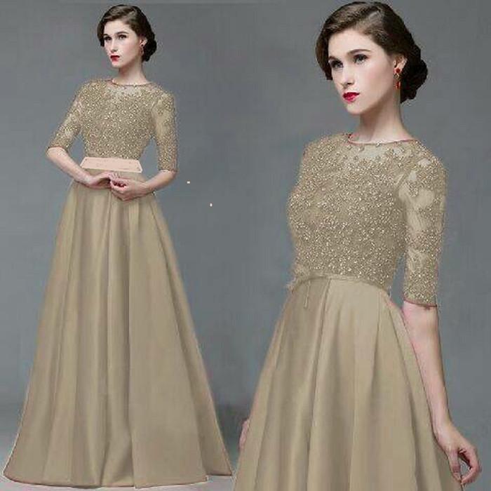 Jual Dress Maxi Gaun Pesta 3 Ukuran Big Size Jumbo Brokat Pink Cokelat Muda M Kota Bandung Grosir Perhiasan 2 Tokopedia