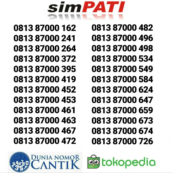 Nomor Cantik Simpati Kartu Perdana Telkomsel Simpati Cantik Murah