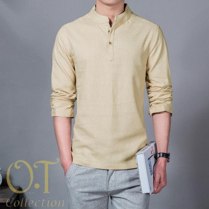 Jual Baju Koko Hamish Cream Baju Atasan Pria Baju Gamis Pria Terbaru