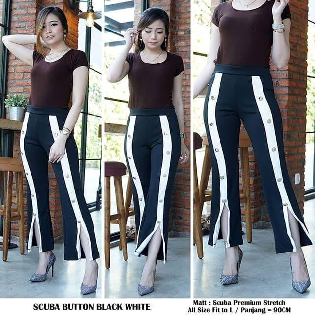 Jual Celana Legging Scuba Murah Scuba Button Black White Jakarta Utara Wednezday Tokopedia