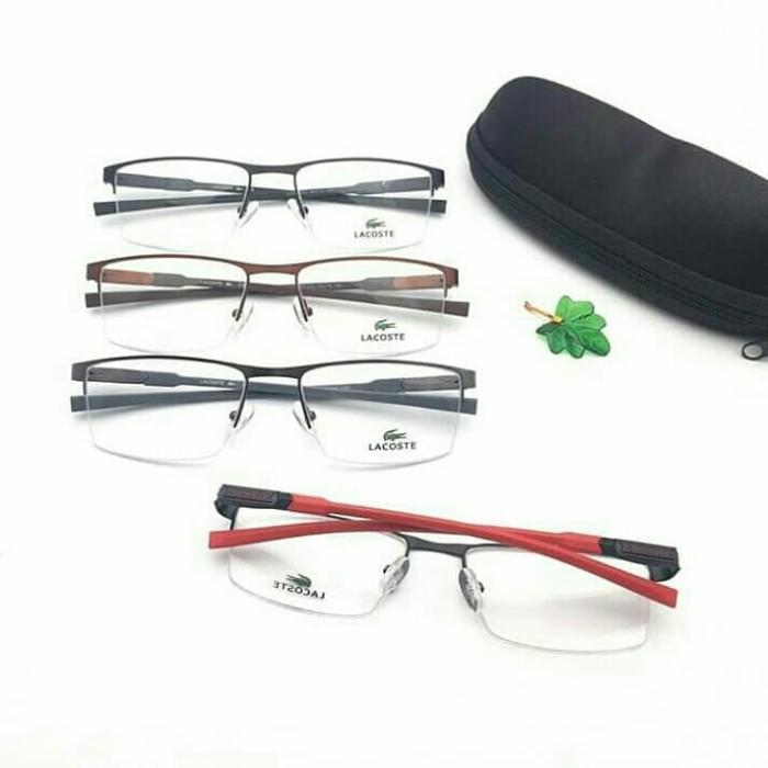 Jual Frame kacamata minus sport cowo elegan half frame lacoste paket ... 62d1ca6764