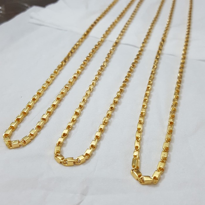 Kalung Balok Mini Lapis Emas Kuning 24 Karat
