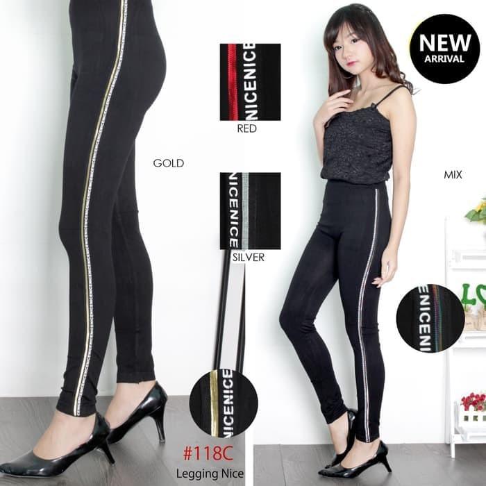 Jual Celana Legging Motif Garis Dan Tulisan Kota Samarinda Arum Aryanti Tokopedia