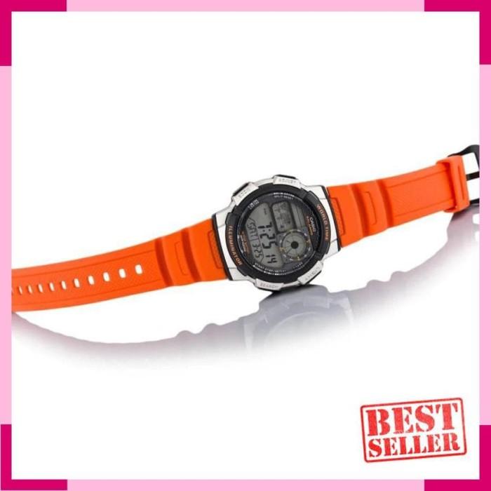 Casio Original AE-1000W-4B Jam Tangan Pria - Digital - Karet - Orange