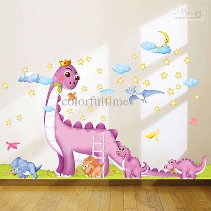 jual wall sticker 60x90 transparan dinosaurus stiker dinding kamar