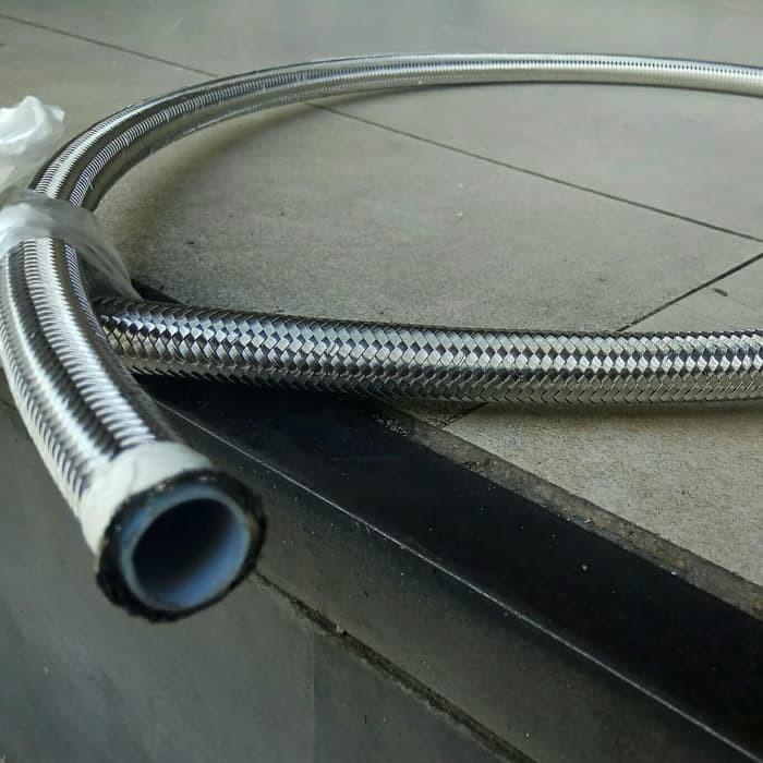 Jual Selang teflon stainless braided Selang Rem Kopling Steam ID 1/2