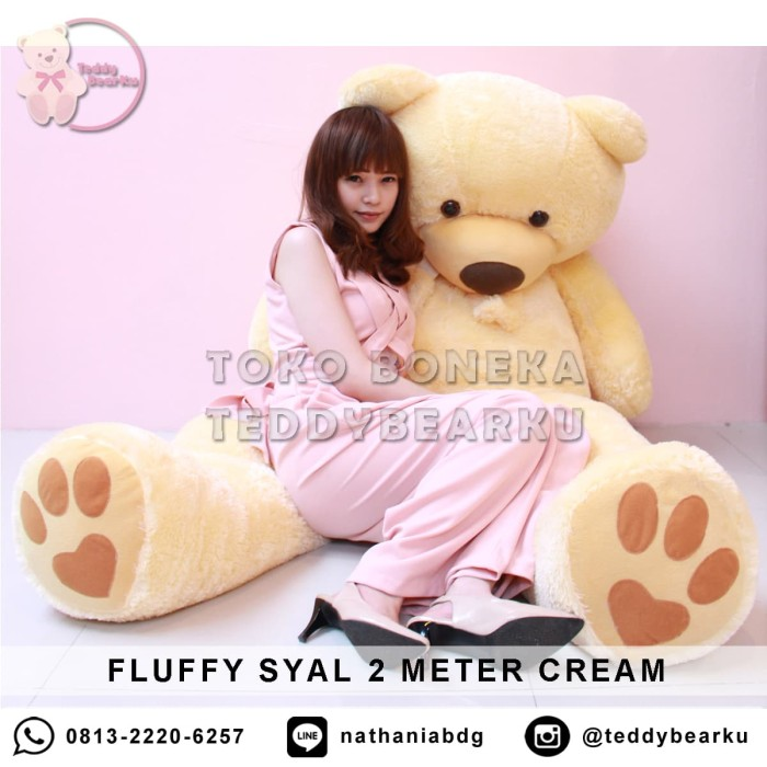 Jual Boneka Teddy Bear FLUFFY SYAL MEGA JUMBO 2 METER WARNA CREAM ... 7a6e42856c
