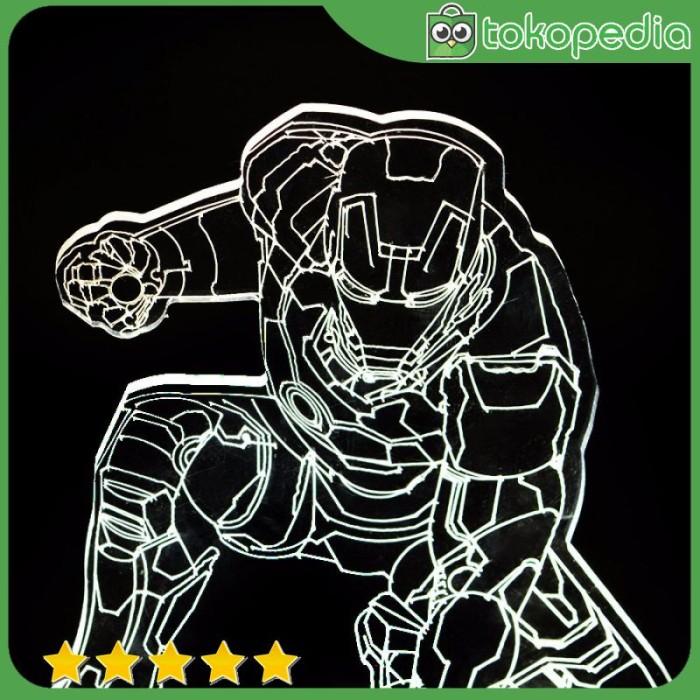 Lampu 3D LED Transparan Design Iron Man - Putih -R589