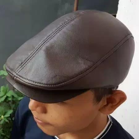 Topi PET kulit asli / topi kulit pria maher zein copet pelukis kodok - Coklat