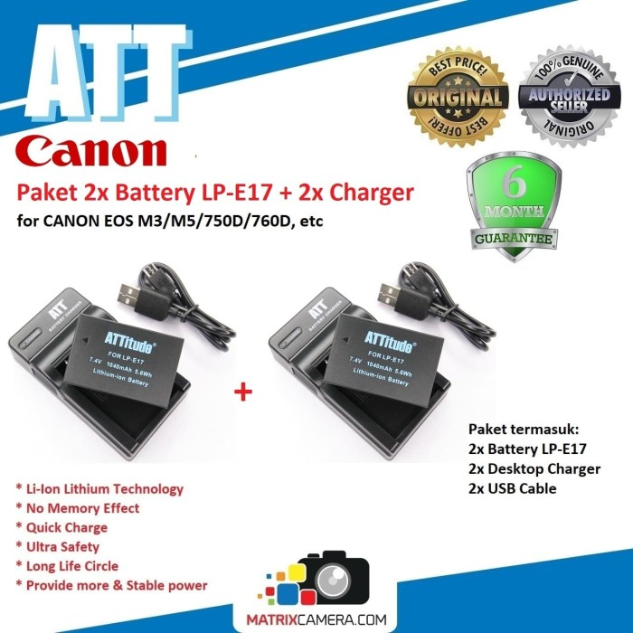 Foto Produk Paket 2x ATT Battery for CANON LP-E17 + 2x Charger Baterai Batere dari MatrixCamera
