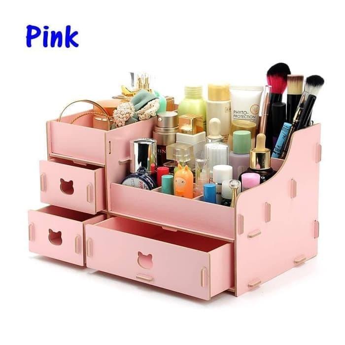 harga Rk021 desktop storage rak kosmetik bahan kayu kotak kuas make up kutek - pink Tokopedia.com