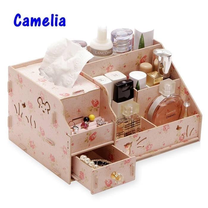 harga Rk078 desktop storage rak kosmetik bahan kayu kotak kuas make up kutek - camelia Tokopedia.com