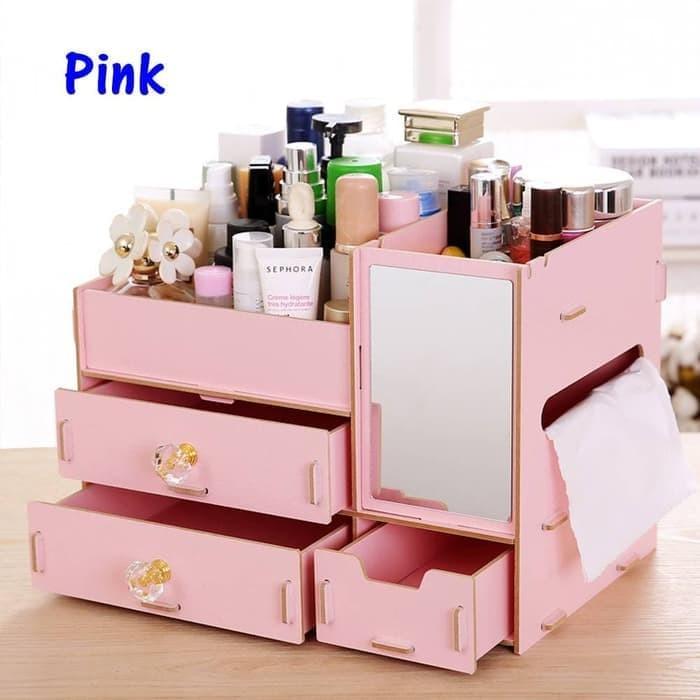 harga Rk058 desktop storage rak kosmetik bahan kayu kotak kuas make up kutek - pink Tokopedia.com