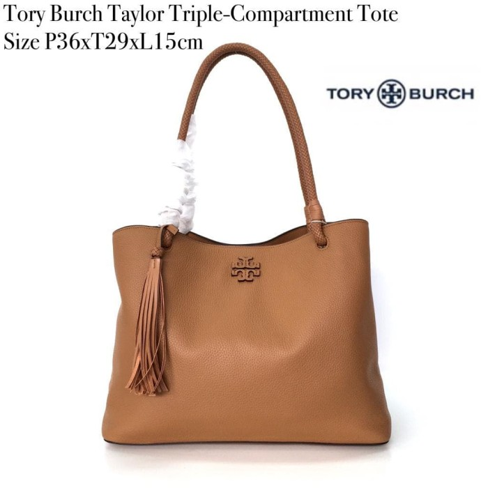 a292ed84484 Jual Tory Burch Taylor Triple-Compartment Tote - Bag n Shoes Store ...
