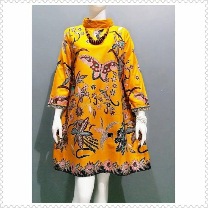 Jual Dress Batik Kerja Kantor Atasan Wanita Blus Terbaru Baju Batik Orange M Kab Pekalongan Rumah Batik20 Tokopedia