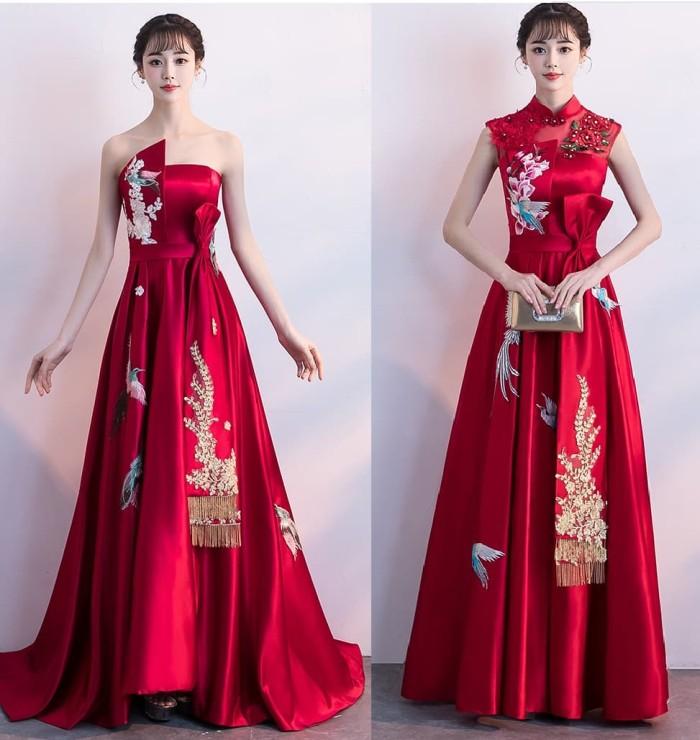 Jual Gaun Pesta 1901025 Merah Maroon Party Dress Gown Kota Medan Christian Tung Tokopedia