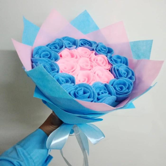 Jual Buket Bunga Mawar Flanel Warna Pink Biru Untuk Hadiah Wisuda Dll Kota Tangerang Kaylazein Ol Store Tokopedia