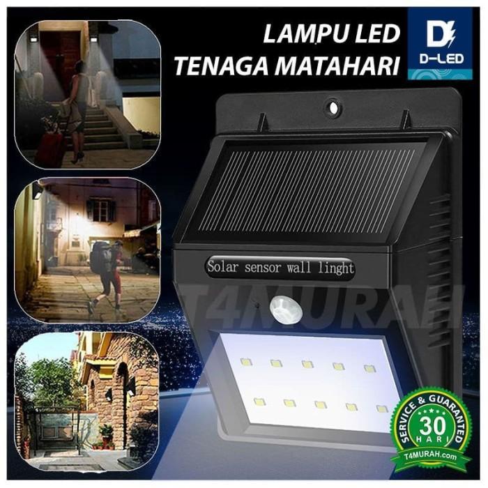 Promo Lampu Dinding Solar Power 10 Led Tenaga Surya Matahari PIR CDS