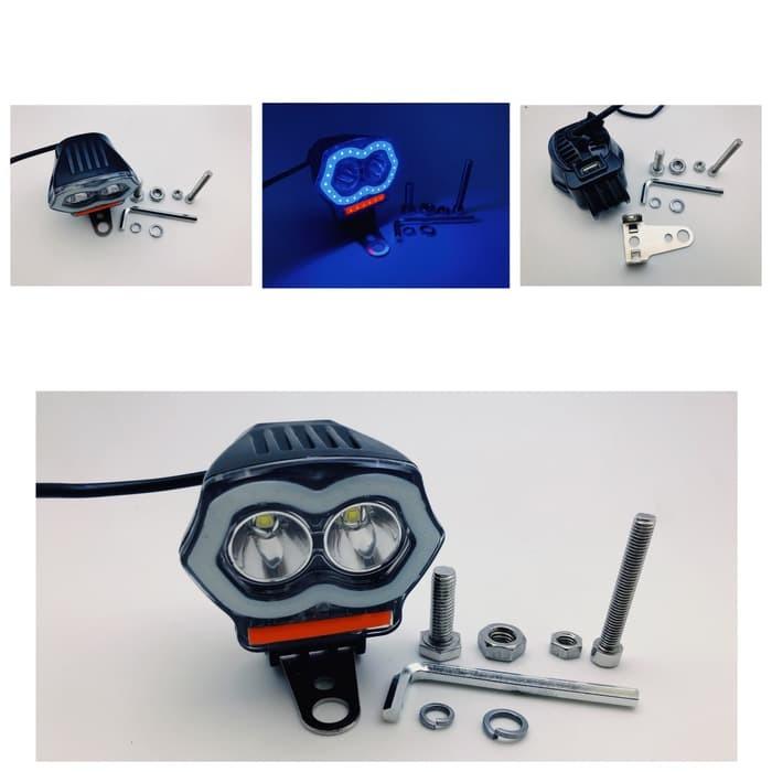 LAMPU STROBO LAMPU TEMBAK 2 MATA ANGEL EYE PLUS CHARGER USB