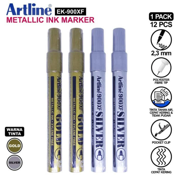 Pack of 2 Artline 999XF Extra Fine Gold /& Silver Metallic ink Paint Marker Pen