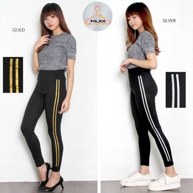 Jual Celana Legging Stripe Garis 2 Leging Sport Wanita Import Terlaris Jakarta Pusat West Fashion Tokopedia