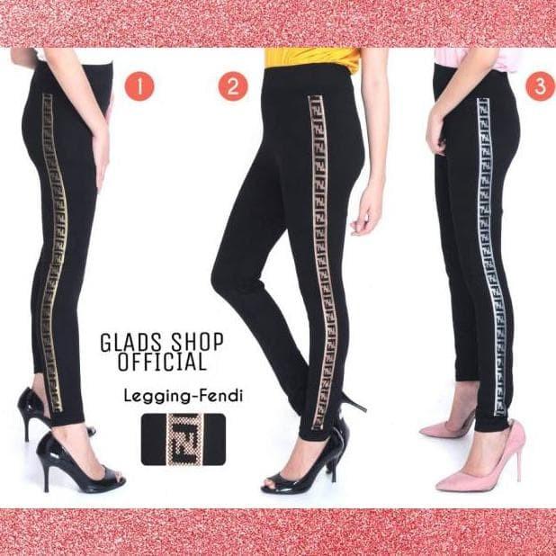 Jual Legging Fendi Celana Fashion Import Wanita List Metalik Woman Pants Jakarta Pusat West Fashion Tokopedia