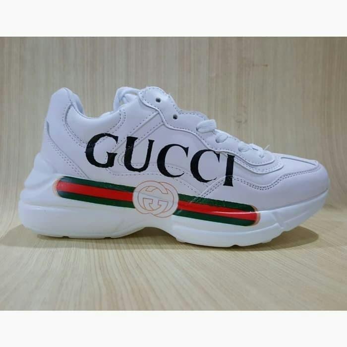 Jual Sepatu Gucci Rython Logo Leather Vintage Trainer Sneaker Full