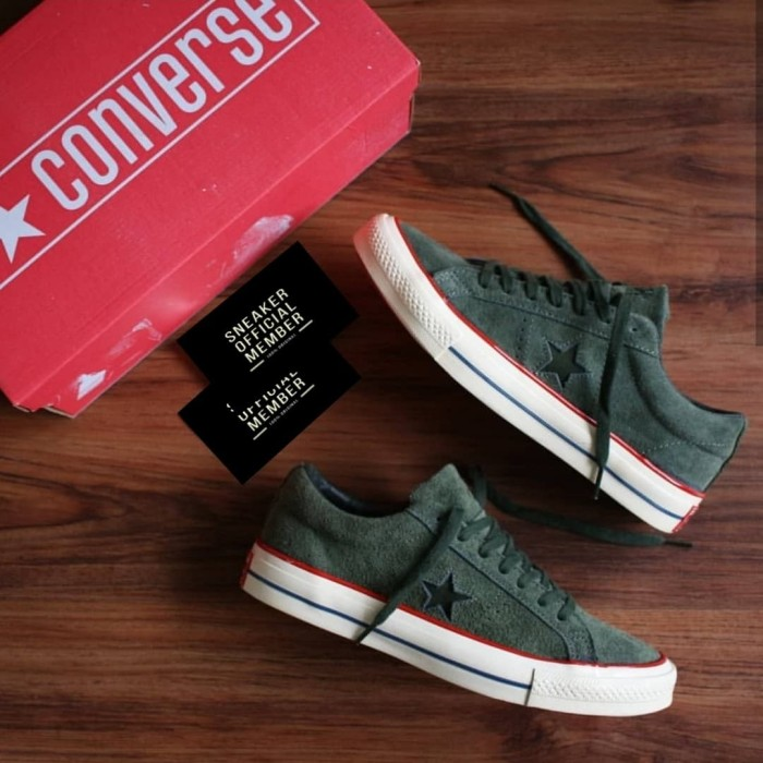 Sepatu UNDEFEATED x Converse One Star Ox Suede Capulet Olive Green Red c10b33b821