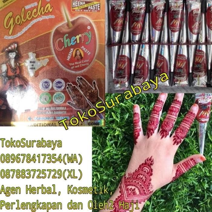 Jual Jual Murah Golecha Henna Cone Cherry Warna Merah Terang Gold