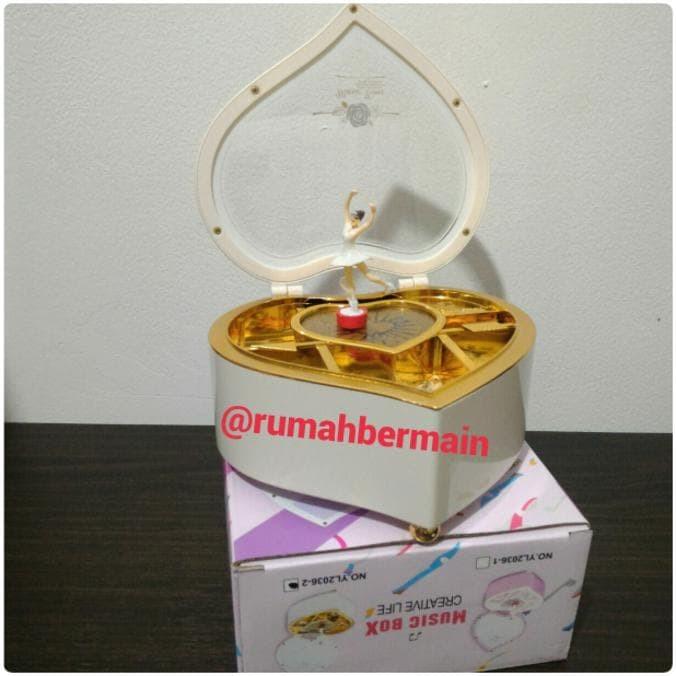 Produk Baru Kotak Musik Love Putih Ballerina Music Box Kado Ultah