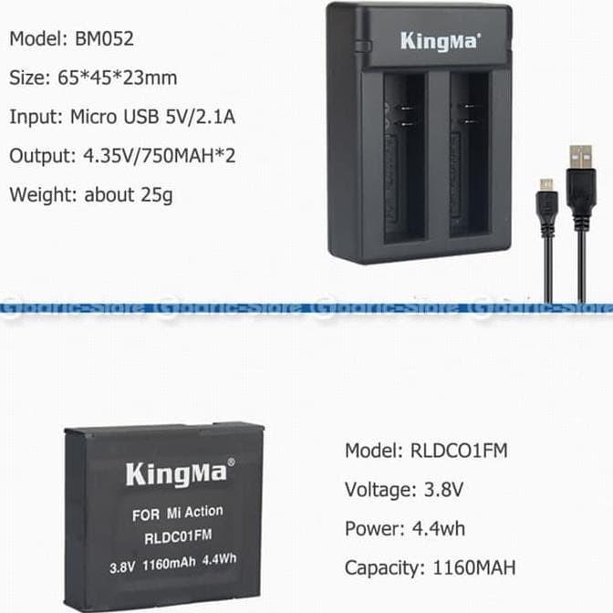 Kingma Paket Complete Set Battery Charger for Xiaomi Mijia Camera 4K